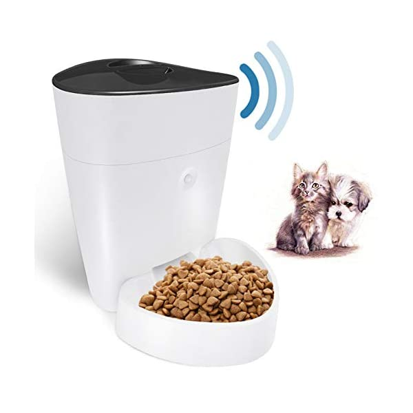 Automatic Cat Feeder with App Control , Dog Food Dispenser Programmable Portion Control 1-6 Meals Per Day(4L), 2.4G Wi…