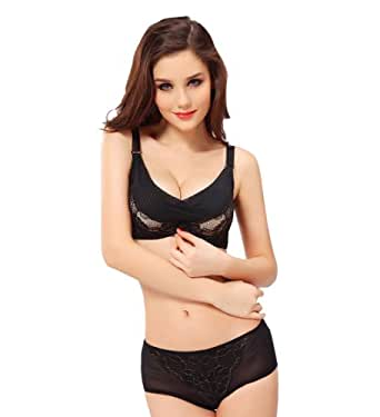 Black Thick Underwire Lace Push Up Adjustable Bra A B C Cup (32A)