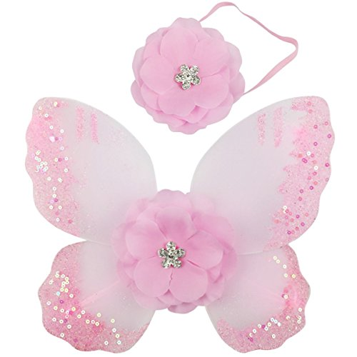[Jastore® Photo Prop Outfit Baby Girl Flower Angel Wing Costume with Headband (Color 8)] (Baby Angel Wings Costumes)