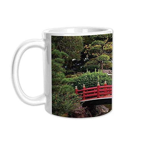 Apartment Decor Stylish White Printed Mug,Tiny bridge Over Pond Japanese Garden Monte Carlo Monaco Along With Trees and Plants Decorative for Living Room Bedroom,3.1