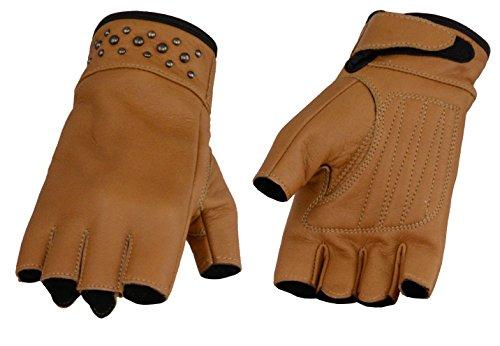 - Ladies Leather Fingerless Gloves w/ Gel Palm, Rivet Detailing (X-Large, Saddle Tan)