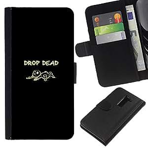JackGot ( Drop Dead ) LG G2 D800 la tarjeta de Crédito Slots PU Funda de cuero Monedero caso cubierta de piel