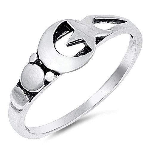 Moon Star Universe Oxidized Fashion Ring New 925 Sterling Silver Band Size 5