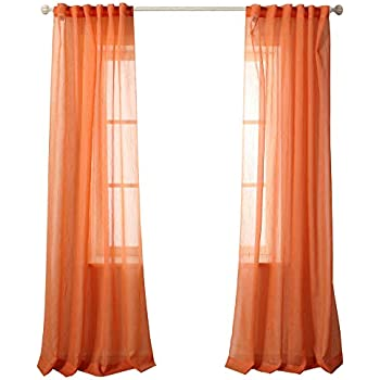 MYSKY HOME Back Tab And Rod Pocket Window Crushed Voile Sheer Curtains For Office Room Orange 51 X 84 Inch Set Of 2 Crinkle Curtain Panels