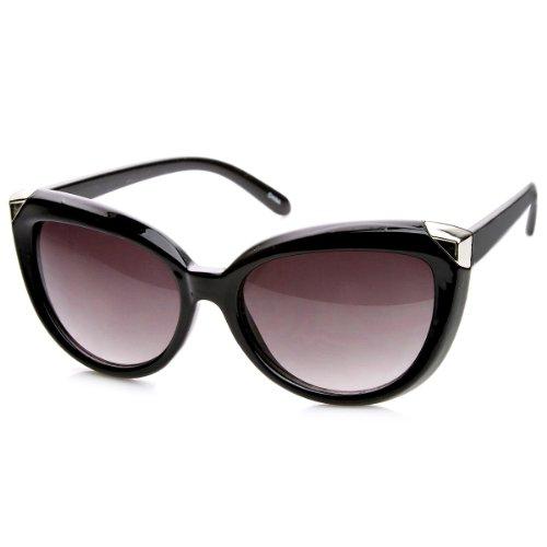 zeroUV - Womens Fashion Metal Tip Oversized Cat Eye Sunglasses (Black-Silver Lavender)