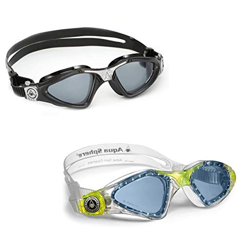 Aqua Sphere Kayenne Swim Goggles. Adult and Youth Bundle for Parents and Kids. (2 -