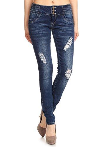 Womens Junior Super Stretch Ripped Distressed Butt Lifting Skinny Denim Jeans