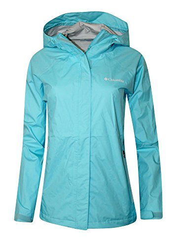 Columbia Women Cable Pass Waterproof Omni-Tech Rain Full-Zip Jacket (XL, Sky Blue) (Blue Mesh Jacket Sky)