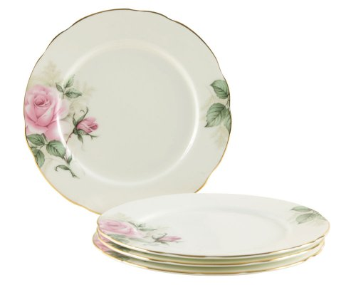 Gracie Bone China 7-1/2-Inch Dessert Plate, Pink Green Rose Bouquet, Set of 4