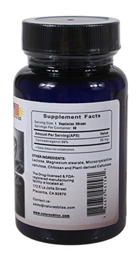 Stomach Acid Protected & Super-Absorption Cycloastragenol 99%, Made in USA, 25mg, 90caps by Nature's Bliss (Image #1)