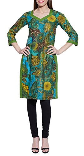 Long Sleeve V-neck Green Print Cotton Dress – Unique Women's Fashions – Size: 32…Length-38 Inch, Bust- 36 Inch