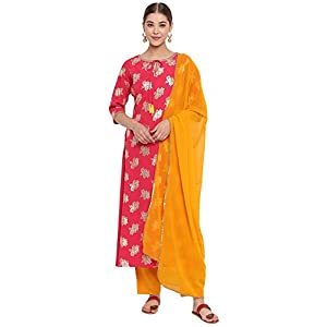 Janasya Women's Poly Crepe A-Line Kurta With Pant And Dupatta