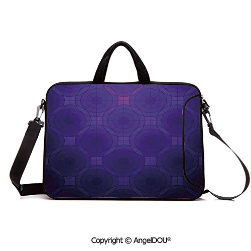 AngelDOU Neoprene Laptop Shoulder Bag Case Sleeve with Handle and Extra Pocket Geometric Circles Tile Like Detailed Image with Inner Details and Lines Compatible with MacBook/Ultrabook/HP/Acer/Asus/