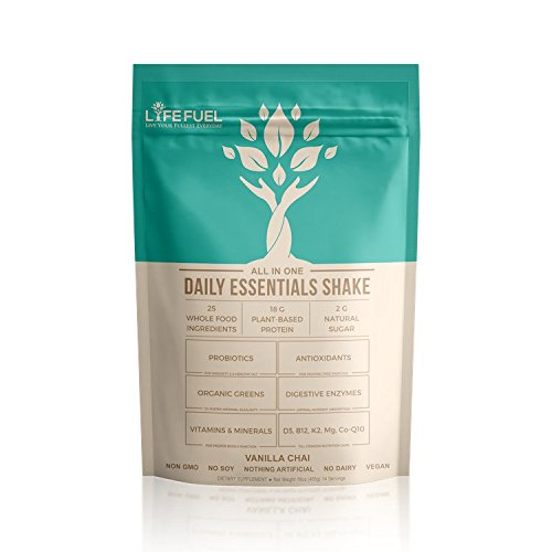 Meal Replacement Shakes (All-in-One) - Plant-based Vegan Protein Powder (Pea & Rice Mix) - All Natural & Organic - Pure, Lean, Low-Carb - Ideal for Weight-Loss & Clean Diet (Vanilla Chai) | LYFE FUEL