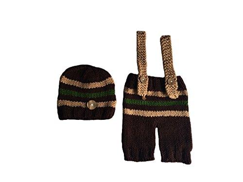 Lumberjack Costume Toddler (CX-Queen Baby Photography Prop Crochet Knit Lumberjack Hat Pants Suspender)