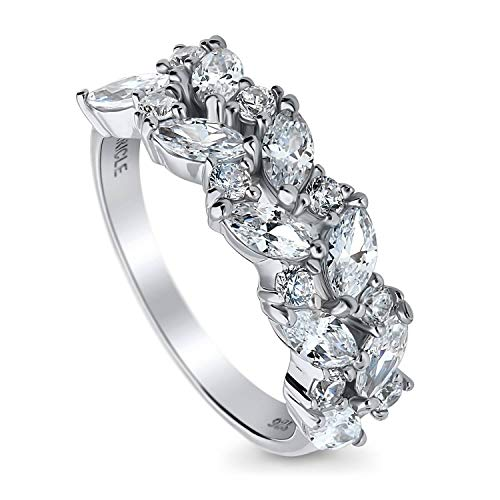 BERRICLE Rhodium Plated Sterling Silver Cubic Zirconia CZ Cluster Anniversary Wedding Band Size 5