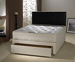 Lakonia 4ft small double divan bed with foot end jumbo for Double divan bed with four drawers