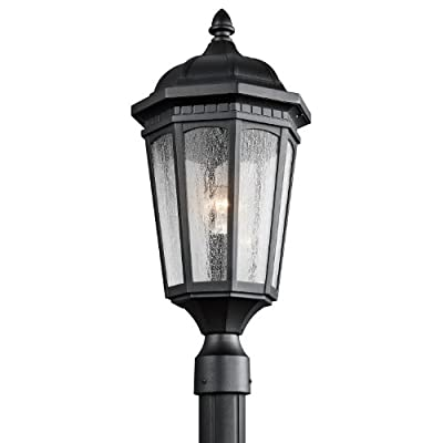 Kichler Lighting 9532BKT Courtyard 1-Light Outdoor Post Mount, Textured Black Finish with Etched Seedy Glass