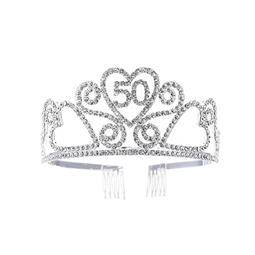 FF 50th Birthday Tiara Crown with Combs Silver Finish]()