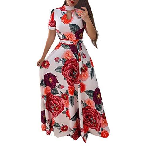 Women Summer Holiday Dress,Qingell Fashion Short Sleeve Turtleneck