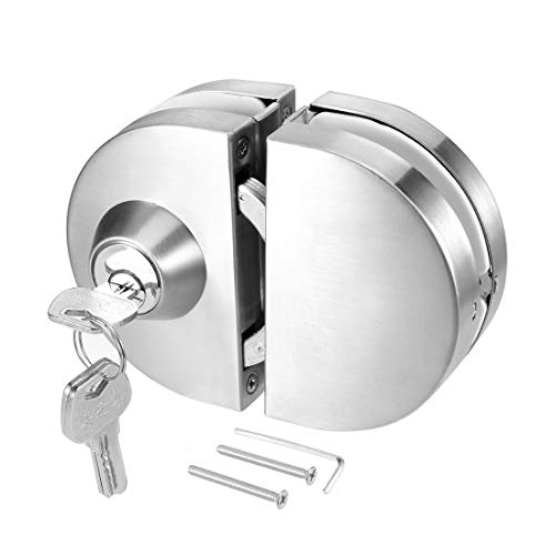 Ranbo 304 Stainless Steel Commercial Durable Metal Chrome 10 mm -12 mm Glass Door Anti-Theft Security Lock, Double Swing Hinged Frameless Push Sliding Gate Lock with 3 Keys (Patio Double Doors Swing)