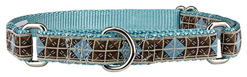 Country Brook Design | Blue & Brown Diamond Woven Ribbon on Ocean Blue Martingale Dog Collar Limited Edition - Medium