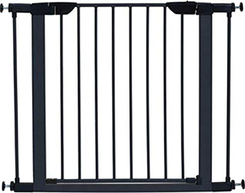 Steel Pet Gate w/ Textured Graphite Frame & Decorative Wood Door, 29H x 28-38W Inches
