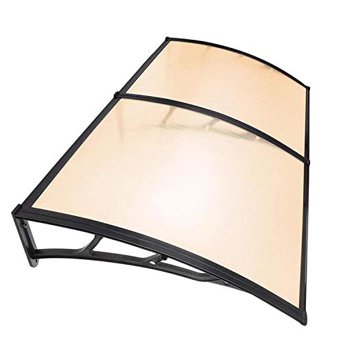 Koval Inc. 6.5 ft DIY Overhead Clear Outdoor Awning Patio Cover Door Window Polycarbonate Modern Design UV Rain Sunshine (6.5 FT, Coffee)