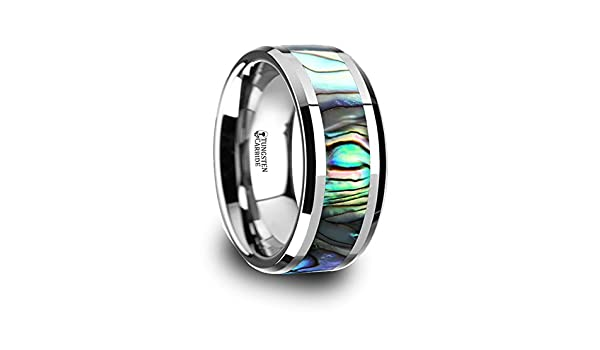Thorsten Maui Ring Tungsten Carbide with Mother of Pearl Inlay 10mm Wide Wedding Band from Roy Rose Jewelry