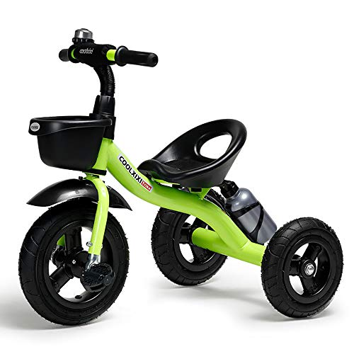 Iocean Baby Trike Rubber Wheel,Children Tricycle Kids Smart Design 3 Wheeler CE Approved Air Wheels Adjustable Seat Metal Frame Bell, Green