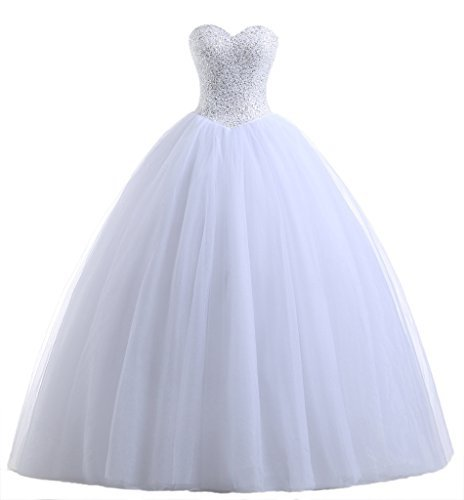 (Beautyprom Women's Ball Gown Bridal Wedding Dresses (2, White))