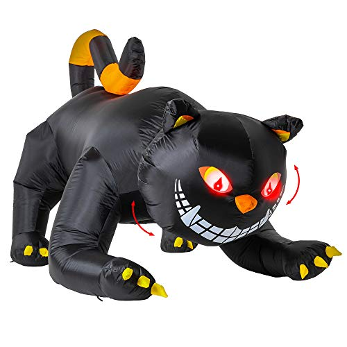 Halloween Haunters 6 Foot Long Inflatable Scary Black Cat Yard Prop Decoration Animated Rotating Turning Shaking Head Flashing Red LED Eyes - Pouncing Indoor Outdoor Lawn Blow Up Haunted House Party