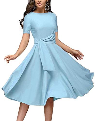Women's Elegance Audrey Hepburn Style Ruched Dresses Round Neck Short Sleeve Pleated Swing Midi A-line Dress with Pockets(Sky Blue, X-Large)