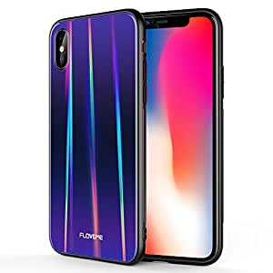 FLOVEME Laser Aurora Tempered Glass for iPhone Xs Case/iPhone X Case, Ultra Thin Hybrid Colorful Gradient Hard Back Slim Cover Soft TPU Bumper Shockproof Protector Compatible with iPhone X/XS, Purple