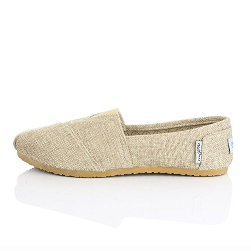 Comfort Linen Massage Sneaker Womens Foam Memory Cushioned Surface With Shoe Classic Slip On Top Elastic Raised DailyShoes Shoes Flat Flats Loafer Natural 0X16qqA
