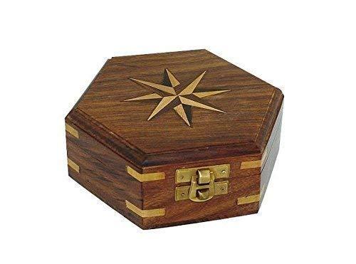 Sechseckige Edelholz Box mit Windrose Inlay und Messing Einlagen 13 cm