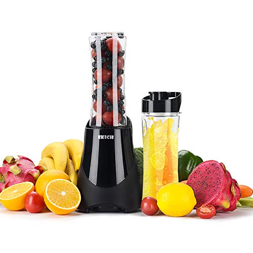 Ekich Personal Smoothie Blender with Two Bottles (21+21Oz) Personal Size Mixer 300W Single Serve Blender for Juice Shakes Tritan BPA-Free Travel Juicer, Black