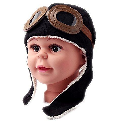 A Little Lemon Super Cool Baby Infant Kid Soft Warmer Winter Hat/ Pilot Aviator Cap/Fleece Warmer Earflap Beanie, Great Christams Gift For Your Child!(black)