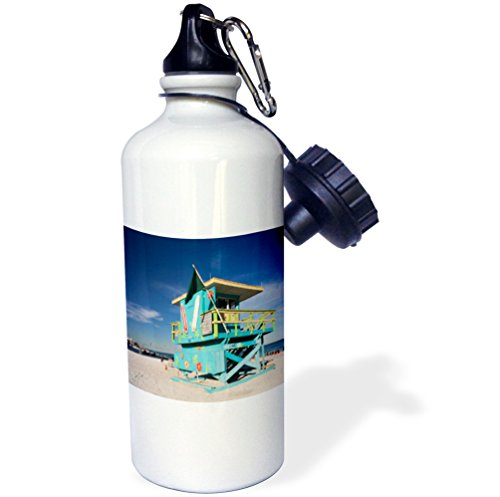 Usa Gift Tower - 3dRose wb_206672_1 Usa, Florida, Miami Beach, South Beach, Colorful Lifeguard Tower Sports Water Bottle, Multicolor, 21 oz