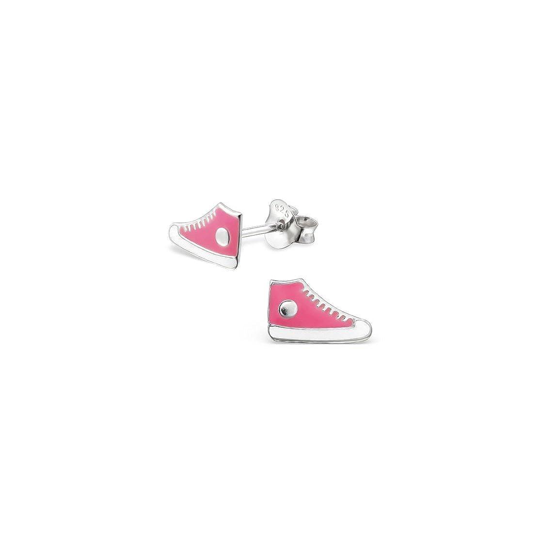 Girls Sneaker Colorful Ear Studs 925 Sterling Silver