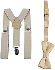 Adjustable and Elasticated with Metal Clips Polyester Kids Design Suspenders and Bowtie Bow Tie Set Matching Ties Outfits - Beige