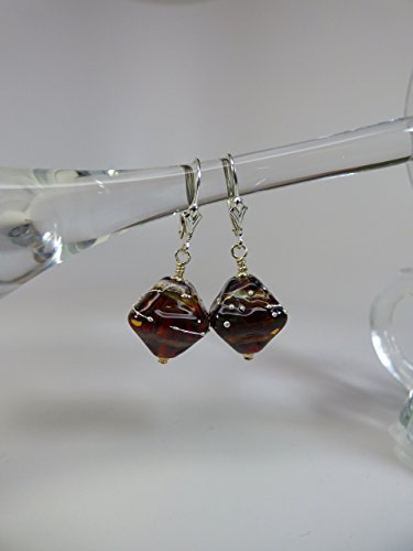 - Coffee Brown Artisan Lampwork Bead Earrings with Sterling Silver Accents and Leverback Ear Wires