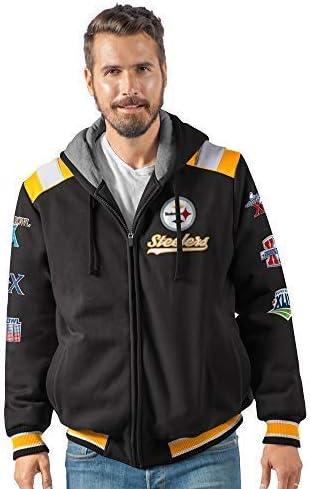 G-III Sports Pittsburgh Steelers 6 Time Super Bowl Champions Hooded Bullpen Varsity Fleece Jacket