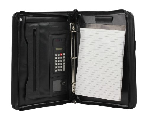 UPC 041218565172, Deluxe Zippered 3-Ring Padfolio Organizer with Calcuator Outer Cellphone Pocket and Notepad