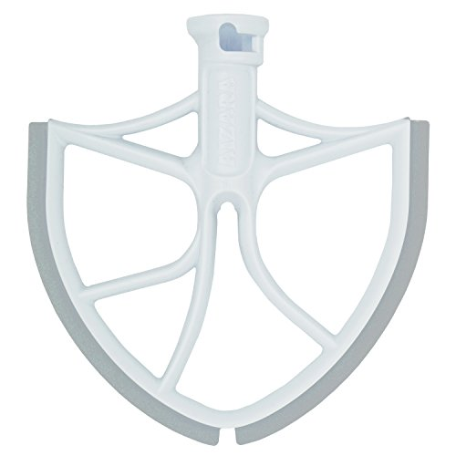 Flat Beater with Flex Edge Bowl Scraper Flat Blade for KitchenAid 6-Quart Bowl Lift Mixer (White)
