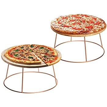MyGift Rose Gold Metal Pizza Pan Riser Stands, Set of 2