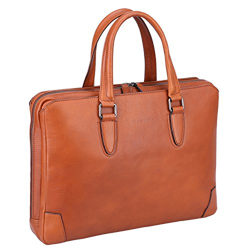"""Banuce Italian Leather Briefcase for Men and Women Business Travel Work Tote Bag Attach Case U-zip 14"""" Laptop Organizer by Banuce (Image #1)"""