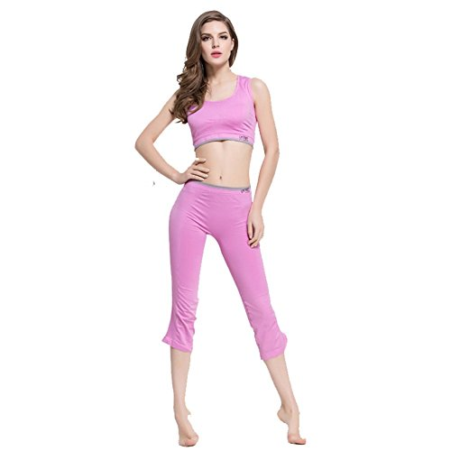 BENNINGCO Outdoor Pink Yoga Exercise Running Seamless Nylon Sports Suit(Size,M)