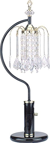 Milton Greens Stars A715BK Stella Traditional Crystal Table Lamp with High/Low Switch, 27-Inch, Black