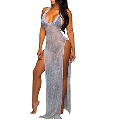 Ai.Moichien Women's Boho See Through DressSide Split Dew Leg Beach Cover Up Halter Dress Club Wear (Leg Split Dress)